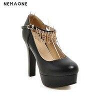 New spring autumn women shoes high heels platform shoes ankle strap shiny rhinestone dress shoes woman white pink blue black
