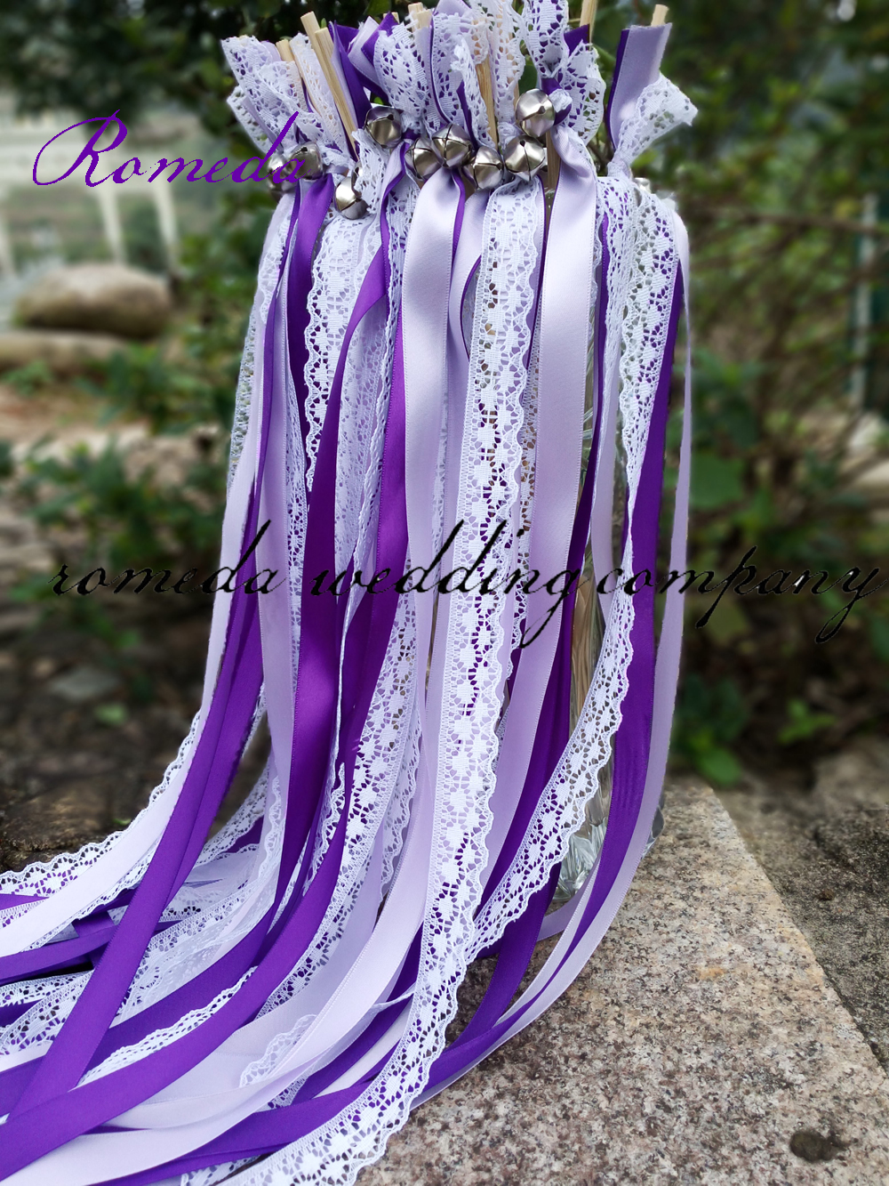 FREE SHIPPING--(50Pieces/Lot)Style D purple ribbon lace wedding wands with bell  Wedding Ribbon Stick,ribbon Twirling Streamers