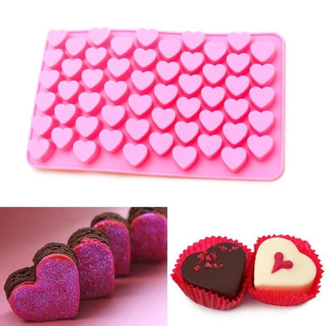 55 agujeros Mini corazón molde de pastel de silicona Molde para hornear Decoración de chocolate Silicona DIY Forma de corazón Molde Pastel M011