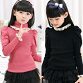 2016 New Fashion Girl Fall / Winter Leisure Sweater Puff Sleeve Knit Sweater Baby Princess Trimmer Collar Sweater 3 -14 Year