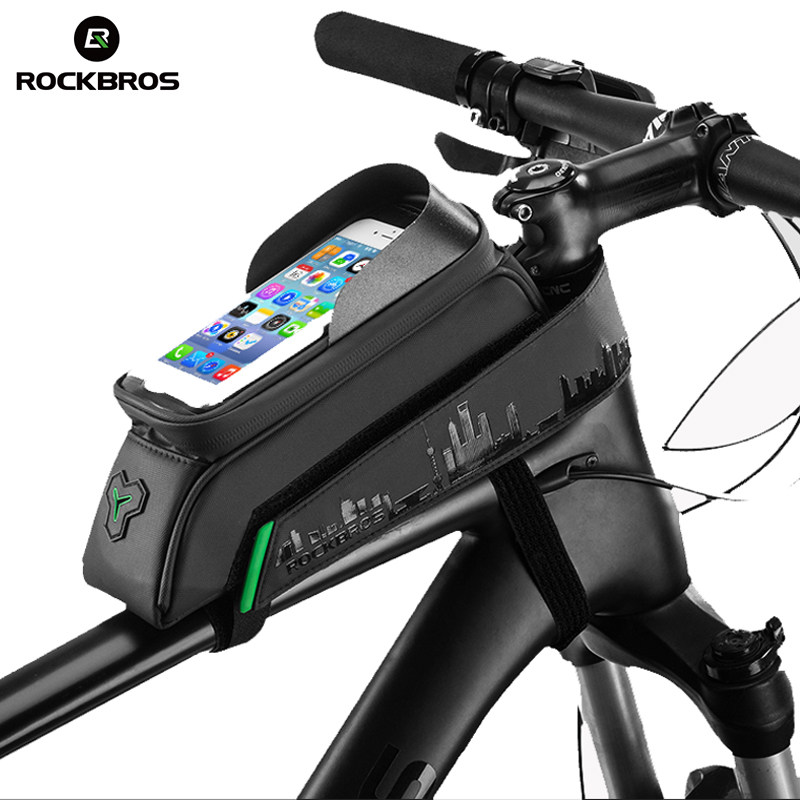 ROCKBROS Bicycle Phone Bag Waterproof Touch Screen MTB Road Bike Top Front Tube Bag 5.8/6.0 Phone Case Cycling Accessories Black boodun bd b04 bicycle bike top tube double bag black