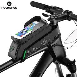 ROCKBROS rowerowa torba na telefon wodoodporny ekran dotykowy MTB Road Bike górna przednia rurka torba 5.8/6.0 etui na telefon akcesoria rowerowe czarny