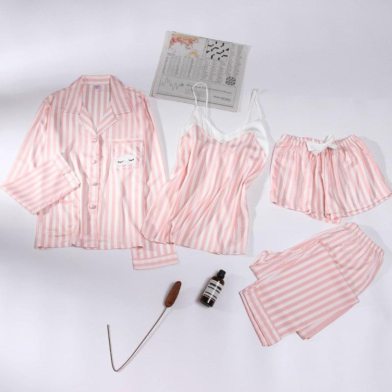 Sleepwear Female Sleepwear Summer Silk Printed Long Sleeve Housewear Suit Four Suits Spring And Autumn Ice Silk Hanging Bandwidt