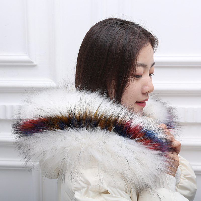 Winter Faux Raccoon Fur Collar iridescence Scarf three-colour patchwork Fashion Coat Sweater Neck Cap Warmer Scarves Winter Tops