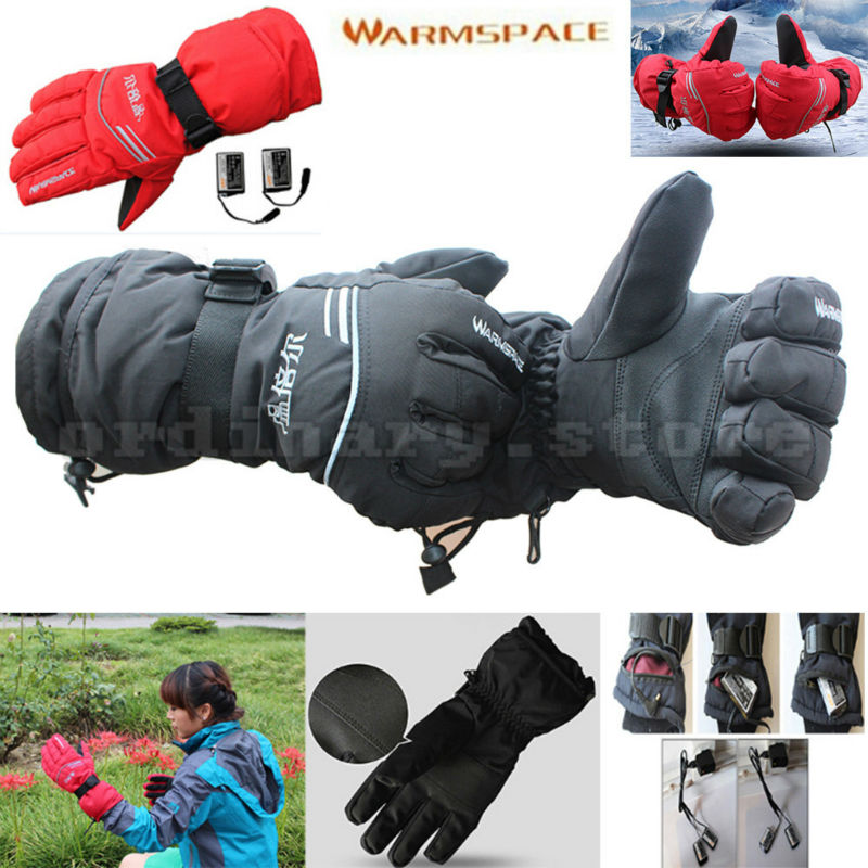 Rechargeable Battery Bicycle Cycling Motorcycle Outdoor Work Glove Electric Heated Hands Winter Warmer Ski Windproof Gloves 1 pair 4000mah rechargeable battery with smart switch on off electric heated warm glove winter outdoor work ski warmer gloves