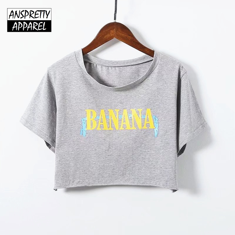 Anspretty Apparel letters print sexy crop top women summer short sleeve t shirt curly hem casual tee tshirt ...