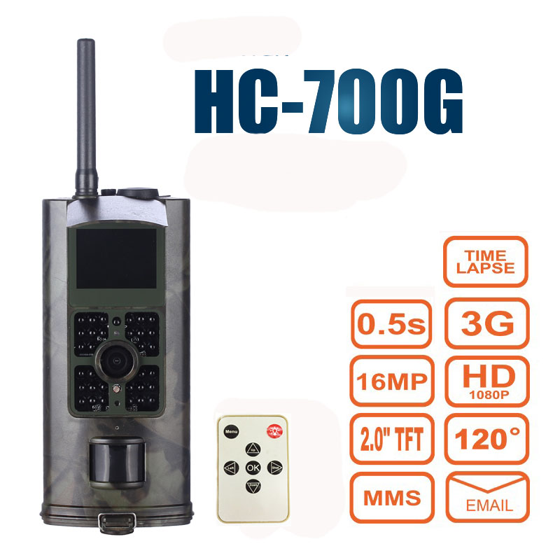Hunting Camera 3G GPRS MMS SMTP SMS 16MP 1080P 120 Degrees PIR 940NM Infrared Wildlife Trail Cameras Trap HC700G new 3g gsm mms smtp sms 16mp trail hunting camera 1080p night vision 940nm 120 degree scouting cameras trap
