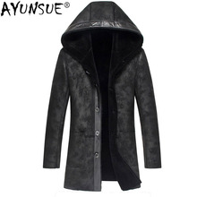 AYUNSUE Genuine Leather Jacket Winter Jacket Men Sheepskin Men s Leather Jackets Male Natural Wool Fur
