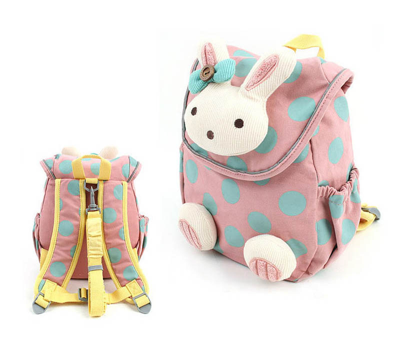 Christmas Gift Cute Rabbit Kids Backpack Cotton Fabric Backpack For Children School Bag Toddler Anti-lost Bags For Age 1-3 Years