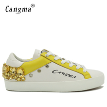 CANGMA Original Gold Rhinestones Mens Shoes Diamond Male Genuine Leather Sneakers White Bass Breathable Man Casual Shoes Crystal