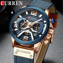 ساعة رجالية رياضية عسكرية من CURREN ذات علامة تجارية فاخرة ساعة كوارتز بحزام جلدي مضادة للماء ساعة يد رجالية 8329