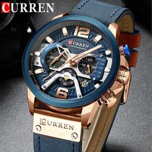 Image 1 - CURREN แบรนด์หรูผู้ชายกีฬาทหารนาฬิกาผู้ชายนาฬิกาควอตซ์นาฬิกาหนังกันน้ำวันที่นาฬิกาข้อมือ relogio masculino 8329