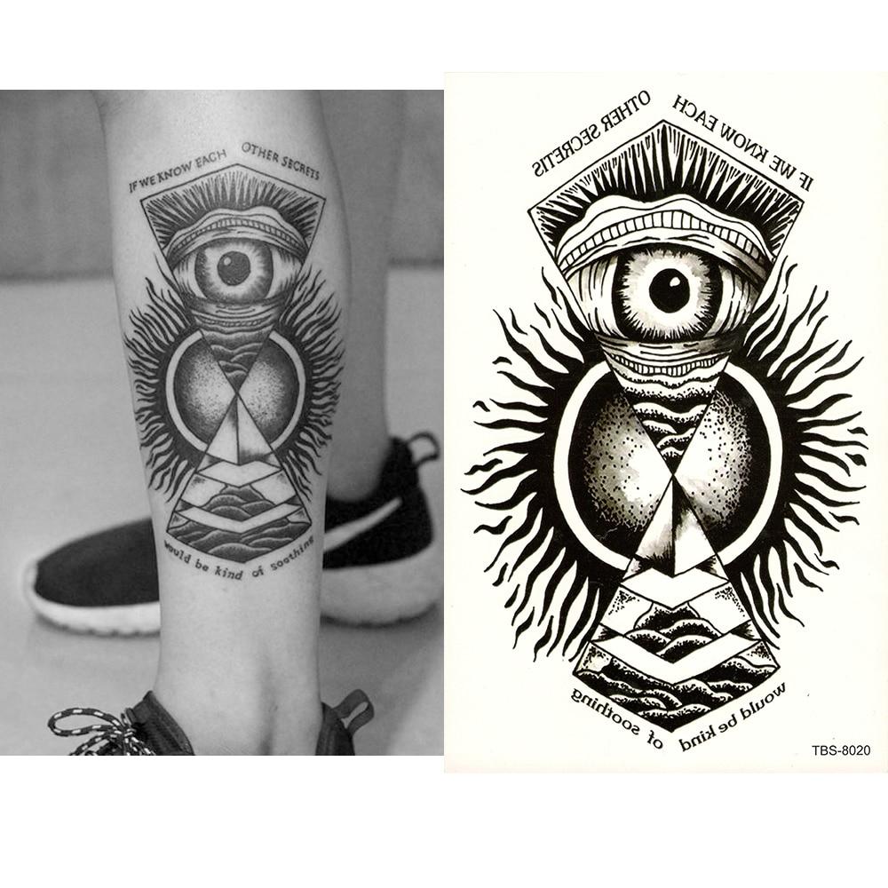 Temporary Fake tattoo Waterproof Water Transfer Tribal Totem Black Angel Eyes Stickers glitter Sexy Women Men Sexy Cool Body Art