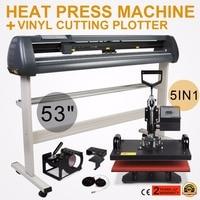 5в1 тепловой пресс комплект передачи 53 винил графопостроитель резак цифровой принтер