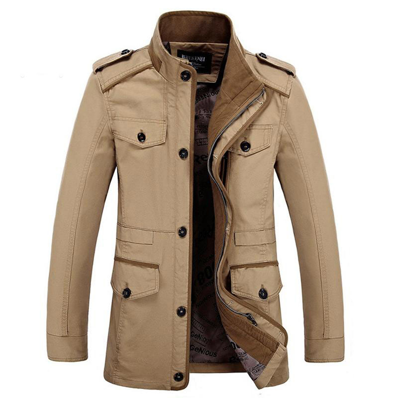 Brand L 6XL New Mens Casual Jacket Stand Collar Autumn Fashion Fat Slim Washed Cotton Long Jacket Coat Men Outwear BF5806