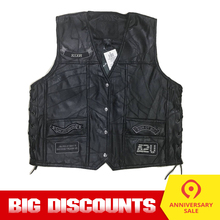 Motorcycle Jacket Motos Biker Genuine Leather Vest Mens Chaqueta Moto Punk Retro Jaqueta Motoqueiro Casual Vest Clothing