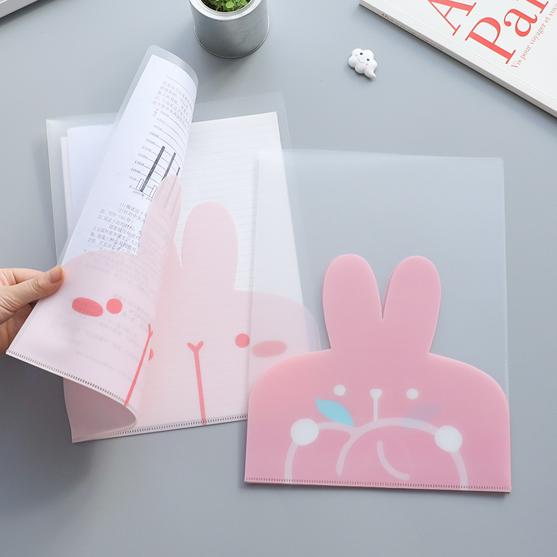 2pcs A4 Cute Rabbit Filing Pouch Clear Folder Transparent PVC Bag Plastic Sleeves Paper Designer File For Paper Document
