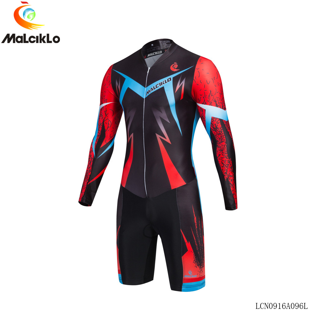 ФОТО 2017 new style MALCIKLO hombre cycling jersey long sleeve Cool lightning pattern triathlon skinsuit ropa maillot ciclismo jersey