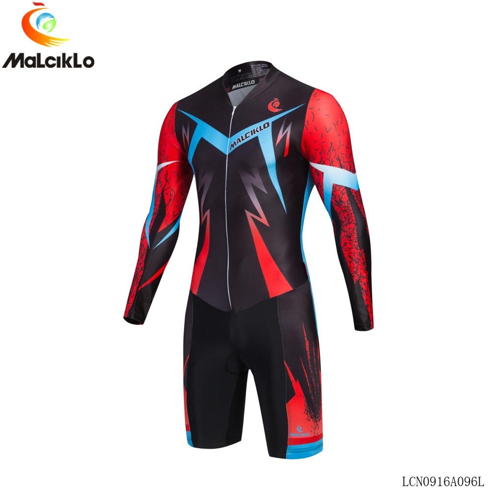 Prix pour 2017 nouveau style MALCIKLO hombre vélo jersey à manches longues Cool foudre motif triathlon skinsuit ropa maillot ciclismo jersey