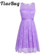 98be31d745246 TiaoBug femmes dame Floral dentelle courte robe de demoiselle d honneur robe  de bal sans manches a-ligne adulte élégant Floral i.
