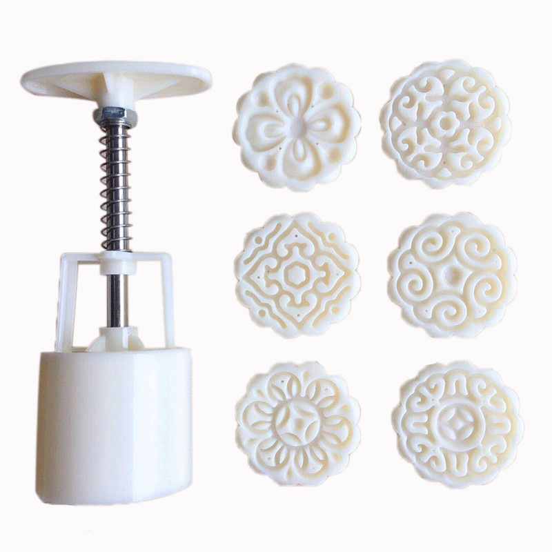 (6pcs) (50g) Plastic DIY Stamps Round Flower Moon Cake Mold Mould Pastry Mooncake Tools