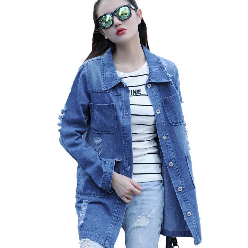 d52370a8750 Autumn 2017 Denim Jacket Women Medium-Long Pockets Hole Destroyed Jacket  Jeans Broken Denim Jackets Coats Spijkerjasje Dame