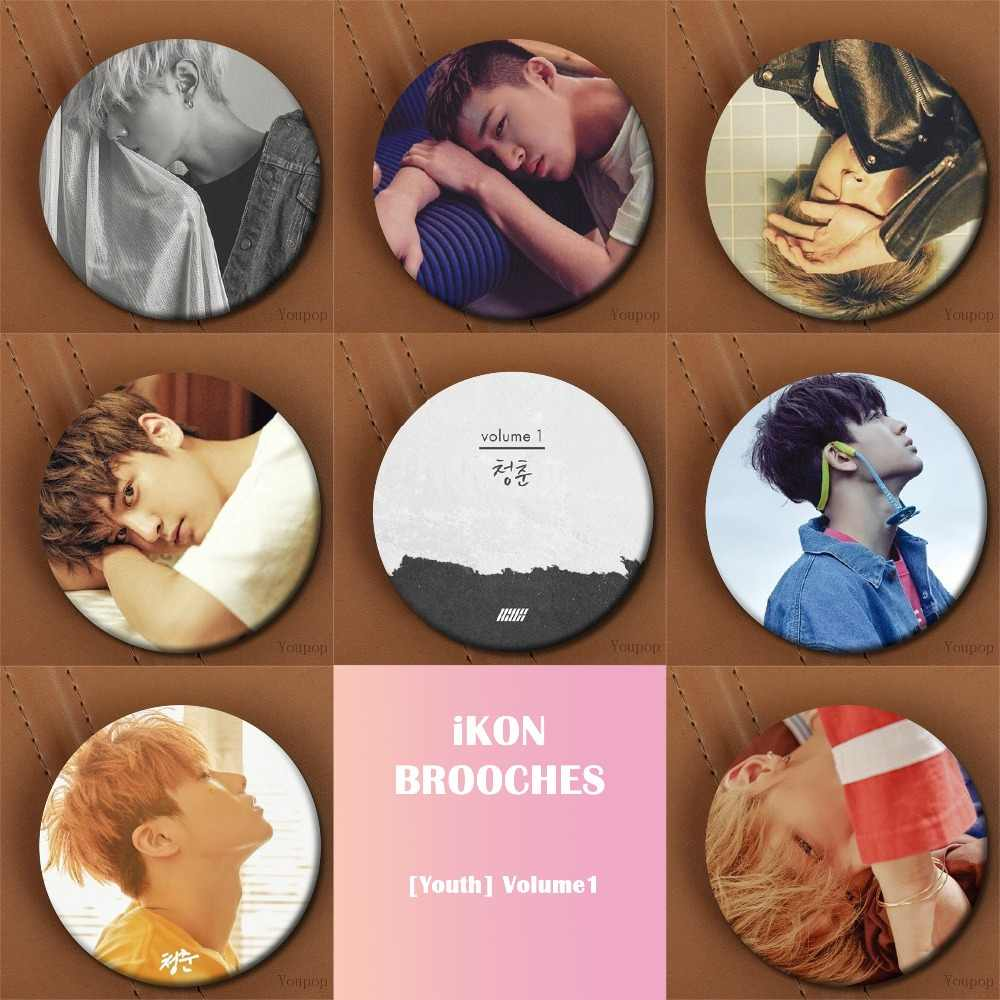 Youpop KPOP iKON Album NEW KIDS CONTINUE Badge Pins Brooches For Clothes  Hat Backpack