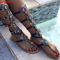 Плоской подошве в богемном стиле Сандалии для девочек Лето Bling Кристалл декор Женская обувь Cool Girl Любовь браслет из бисера Римские сандалии