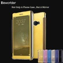 Для Xiaomi Примечание 2 PU кожа Флип Пластиковый Smart Touch Жесткий телефон оболочки Высококачественные Окна Чистый Вид Ультра Зеркало Ми Примечание