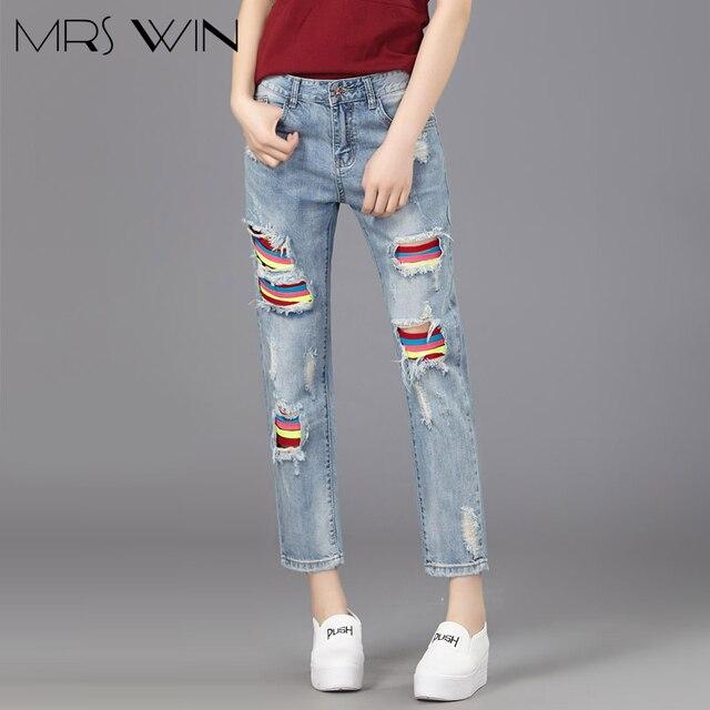 bea60c4f48 La sra. victoria 2017 Del Verano Nuevas Mujeres Jeans Agujeros Rasgados Moda  Tobillo-Longitud