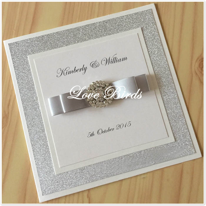 Lb060 Book Style Silver Glitter Wedding Invitations With Ribbon And Buckle