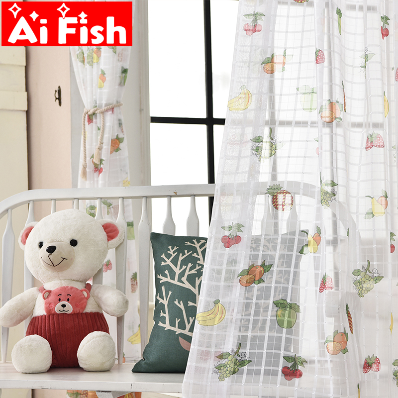 US $6.16 43% OFF|New Creative Cartoon Colorful Fruit Gauze Curtains For  Children\'s Bedroom White Plaid Curtains Tulle Fabrics Drapes MY006#40-in ...