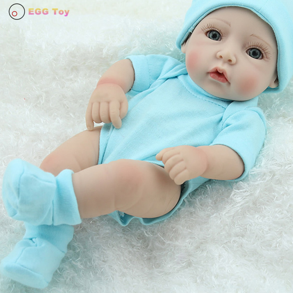 ФОТО Reborn Doll Blue Full body Silicone Reborn Doll Toy 28cm Lifelike Baby Doll Educational toy Play House gift for kids bath toy