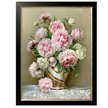 Golden Panno,Needlework,Embroidery,DIY Floral Painting,Cross stitch,kits,14ct Peony home Cross-stitch,Sets For Embroidery