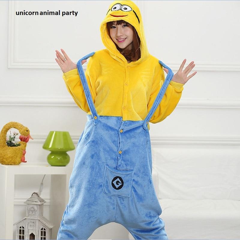 Halloween Kigurumi Dewasa Despicable Me Minion Onesies Piyama Unisex Piyama Cosplay Kostum Hewan Pakaian Tidur Jumpsuit