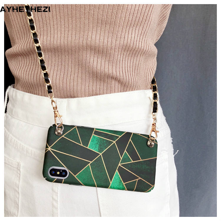 the best attitude 761ed 92dba US $8.5 28% OFF|Girls Insta Fashion Crossbody Cell Phone Green Case Cover  with long Strap chain for Iphone XS MAX XR X 6S 6 8 7 plus case Cover-in ...