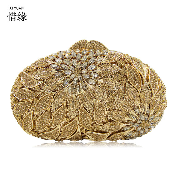 XIYUAN BRAND Luxury Handbags Women Bags Crystal Evening bag Clutch Golden Women Shoulder Bag Rhinestones purse gold/champagne luxy moon bling crystal clutch purse rhinestones evening bag for women jewelry hard case handbags bridesmaid shoulder bags zd799