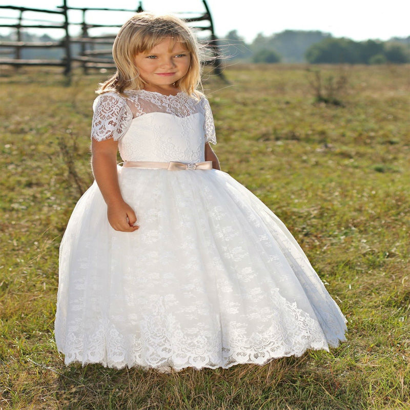 A-Line Flower Girls Dresses For Wedding Gown Lace Toddler Girl Dresses Ankle-Length Girls Dress White Mother Daughter Dresses white and ivory lace flower girls dresses for wedding a line spring pretty mother daughter dress tulle pageant dresses for girls