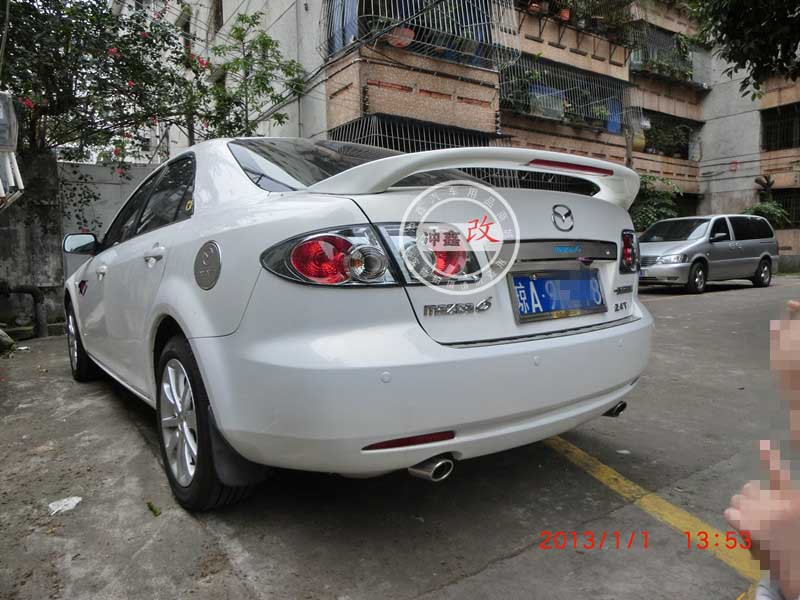 ФОТО Primer Unpaint Factory Style ABS Spoiler Wing With LED Fit For 03~08 mazda 6 M6 2003 2004 2005 2006 2007 2008