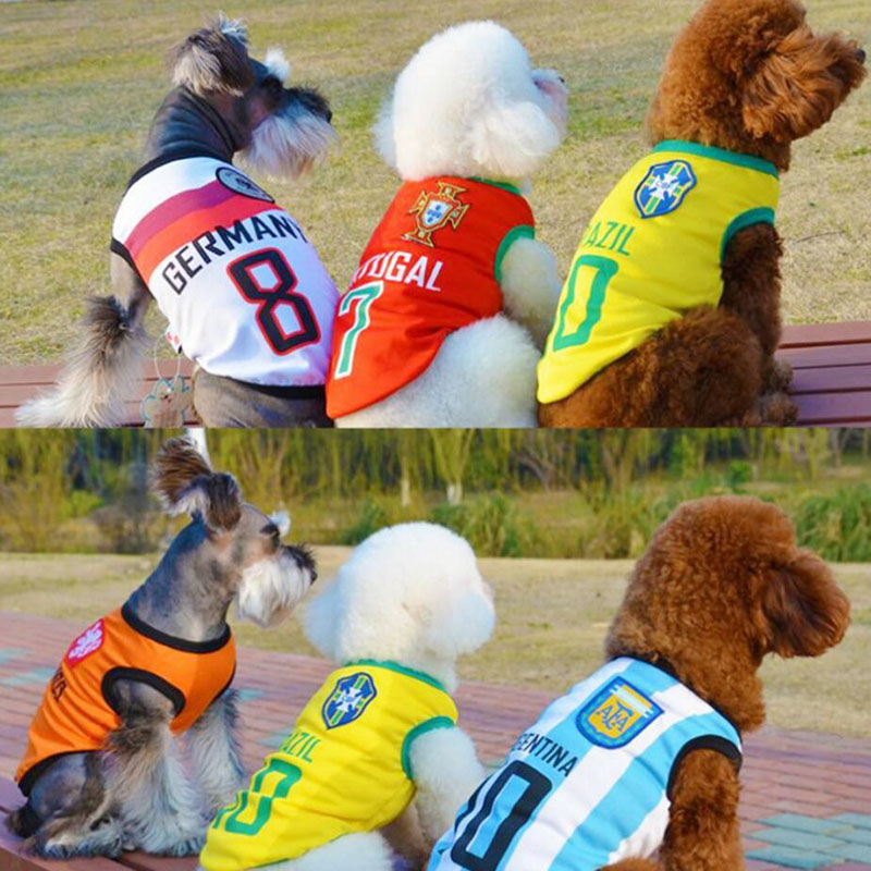 Dog Clothing & Shoes 2018 Summer Cute Dog Pet Vest Puppy T Shirt World Trophy Football Doggy Cloth Clothing Dog Sportswear Soccer Fans Jersey For Pet Drone Bags