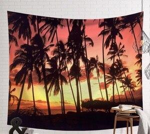 Image 3 - CAMMITEVER закат голубое зеленое море кокосовое дерево песчаный пляж гобелен настенный гобелен Бохо покрывало Коврик для йоги одеяло