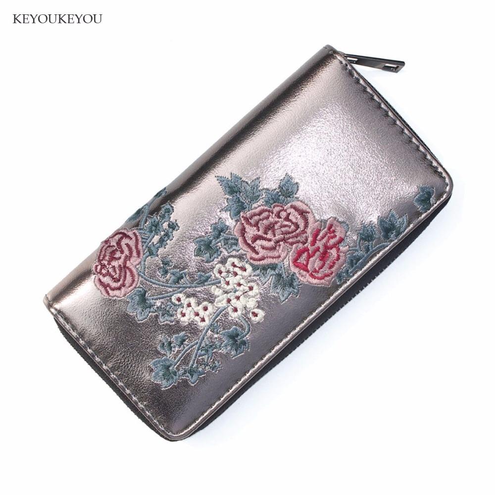 Zipper Leather Wallet Travel Rfid Flower Embroidery Credit Card Passport Slim Clutch Big Capacity Wallet Ladies purses bolsas