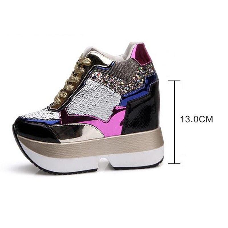 47375a2099cc7b Nuovo arrivo 2017 Autunno Moda casual scarpe donna Zeppe Alte 13 cm di  spessore con la suola femminile Formatori Oro Argento in Nuovo arrivo 2017  Autunno ...