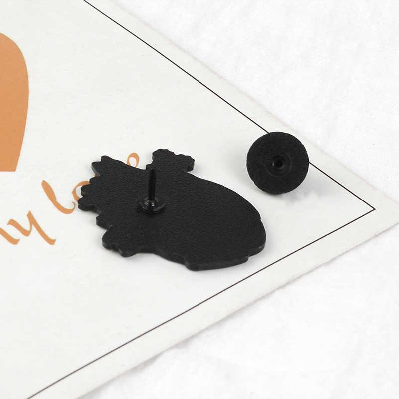 Scuro Punk Bianco Nero Amante dei Gatti Spilli Dello Smalto Risvolto Spilli Gatto Spille Animale Distintivi e Simboli Cappello di Cuoio del Sacchetto Giubbotti Accessorio