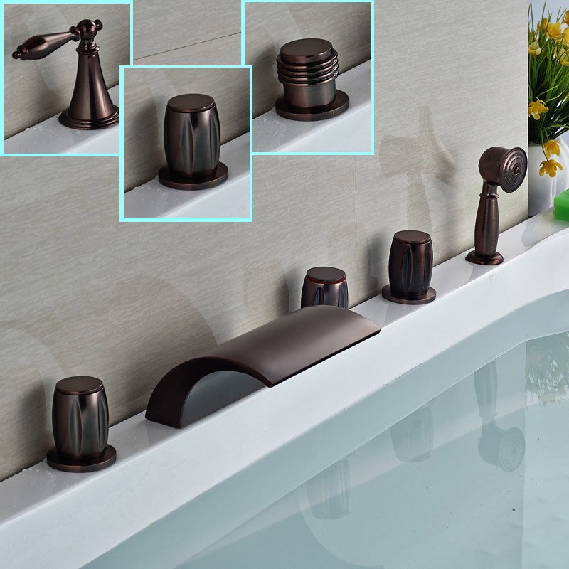Deck Mount Widespread Tub Faucet Three Handles 5pcs Waterfall Bathtub Mixer Taps with Hand Shower