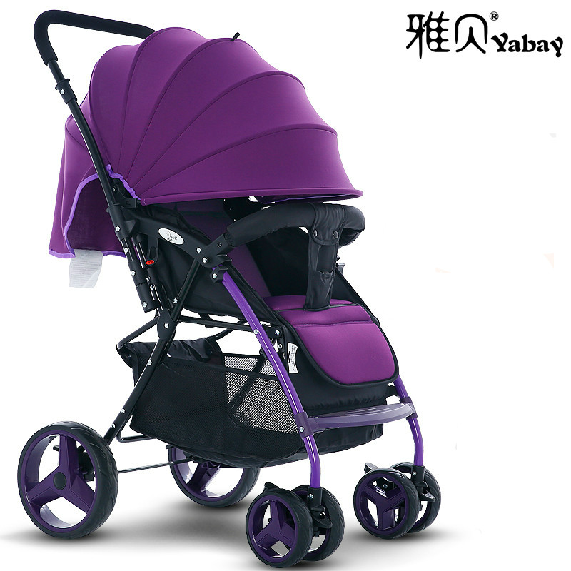 Yabay high landscape lying baby stroller portable folding baby trolley implement two-way shock-proof newborn carriage lightweigh folding baby stroller lightweight baby prams for newborns high landscape portable baby carriage sitting lying 2 in 1