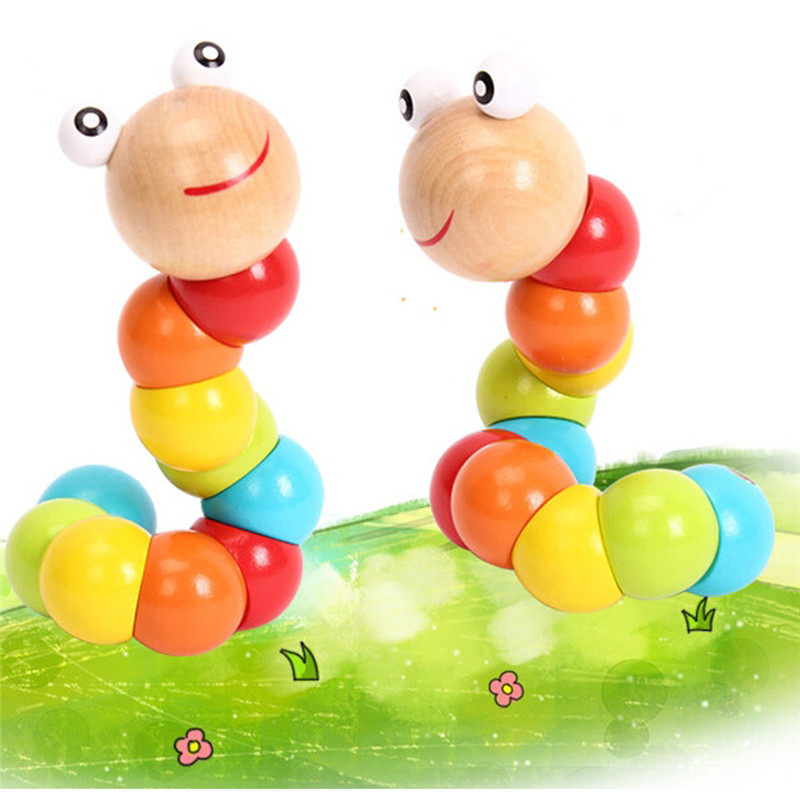 Cute Insert Puzzle Educational Wooden Toys Baby Kids Flexible Twisting Worm Toys