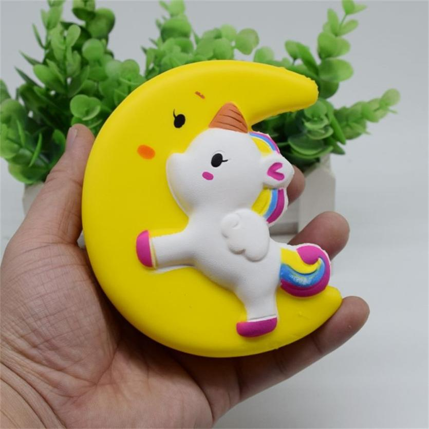 New Cute Squishy Jumbo Moon Unicorn Slow Rising Straps Pendant Anti Stress Soft Squeeze Cream ScenteD Kid Toy Gift