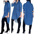 Dress Loose-fitting High Low Denim Shirt Dress Fall Style Long Sleeve Women Vintage Jeans Shirt Button-type Dress For Women 272