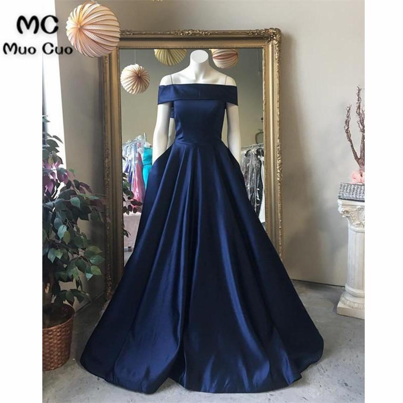 2018 Navy Blue Teal Off Shoulder   Evening     Dresses   Long with Pockets Floor Length Vestido Longo Formal   Evening   Party   Dress